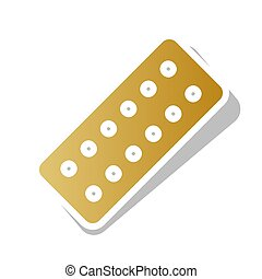 Medical Pills sign. Vector. Golden gradient icon with white...