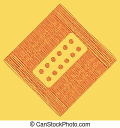Medical Pills sign. Vector. Red scribble icon obtained as a...