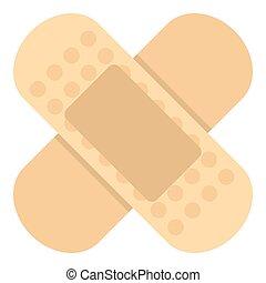 Medical plaster icon, flat style