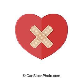 Medical plaster on red heart.