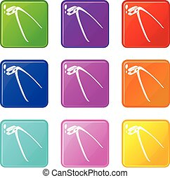 Medical pliers icons set 9 color collection