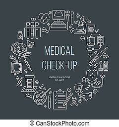 Medical poster template. Vector line icon, medical center, health check up, medical equipment