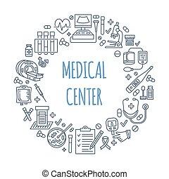 Medical poster template. Vector line illustration of medical...