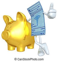 Medical Prescription With Gold Pigg