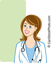 Illustration of a female physician (stethoscope can be removed to portray a lab technician, pharmacist, or other medical professional). Green area can be used for a checklist or FAQ section