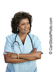 Medical Professional - Thoughtful - A doctor or nurse in...