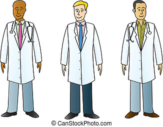 Three male medical professionals wearing typical white lab coats.