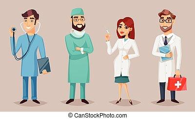 Medical Professionals People Retro Cartoon Poster