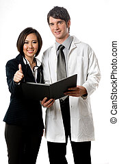 Medical Professionals - A young male doctor with female...