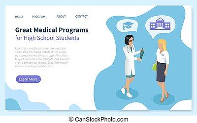 Medical Program for High School Student Vector
