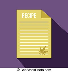Medical recipe with hemp leaf icon, flat style - Medical...