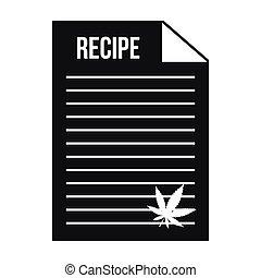 Medical recipe with hemp leaf icon