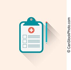 Medical record clipboard and pencil with long shadows -...