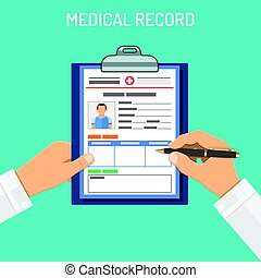 Medical record concept - Doctor holds medical record and pen...