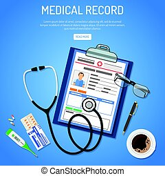 Medical record concept with flat icons card of patient,...