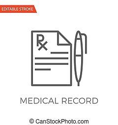 Medical Record Vector Icon - Medical Record Thin Line Vector...