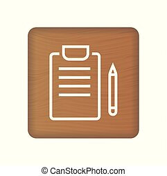 Medical Records Concept Icon On Wooden Blocks Isolated On A White Background. Vector Illustration. Healthcare Concept. This simple element illustration can be used for web and mobile UI UX.