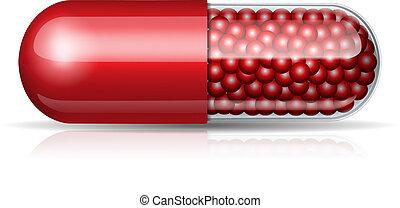Medical red capsule with granules