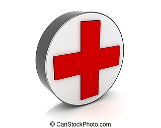 medical red cross sign - isolated 3d medical red cross sign