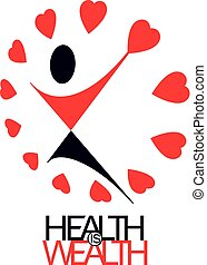 Medical rehabilitation abstract logotype, symbol. Healthy lifestyle is strong heart. Vector illustration of joyful individual with raised hands up.