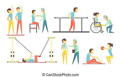 Medical Rehabilitation Set, Physiotherapist Doctor and...