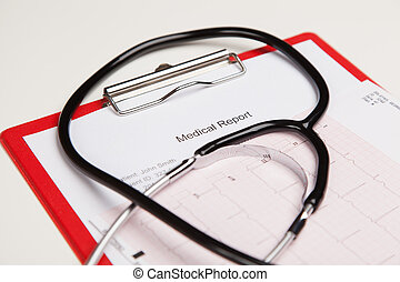 Medical report and cardiogram - Generic ficticious medical ...