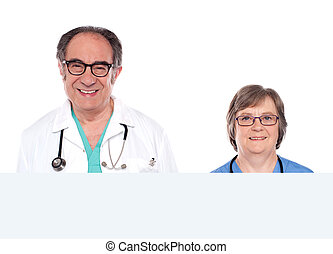 Medical representatives with blank banner ad
