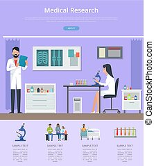 Medical research description on purple background. Vector illustration with doctor and nurse working with microscope in hospital laboratory