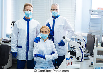 Medical researchers working in the lab