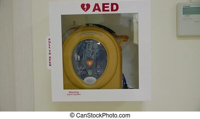 Medical resuscitation device defibrillator slow motion camera movement