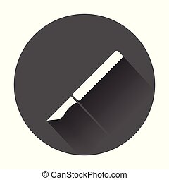 Medical scalpel vector icon. Hospital surgery knife sign illustration on black round background with long shadow.