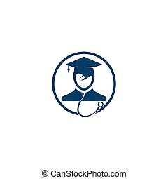 Medical School vector logo design. Medical student icon vector.