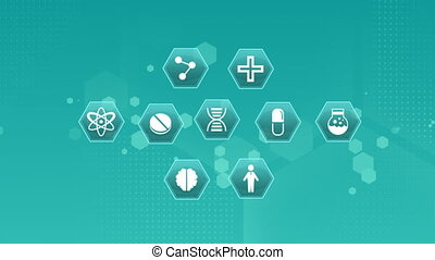 Digital animation of medical science symbols on a green background. Hexagon shaped bokeh light effects are flying in the background