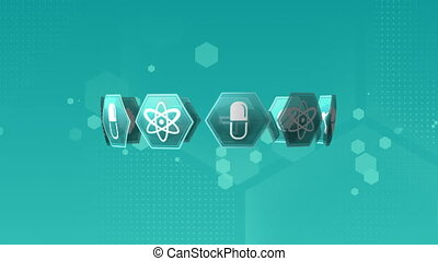 Digital animation of medical science symbols. The background has hexagon shaped bokeh lights.
