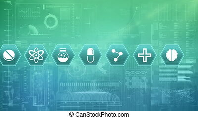 Digital animation of medical science symbols. The background is filled with graphs and statistics.