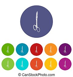 Medical scissors icons set color