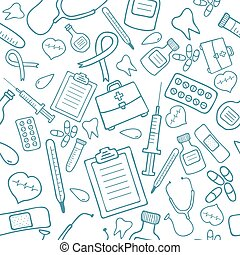 Medical seamless pattern in blue color