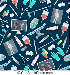 Medical seamless pattern of surgery items