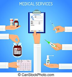 Medical services concept with flat icons prescription, ...
