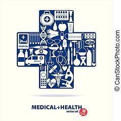 Medical set. Cross illustration.