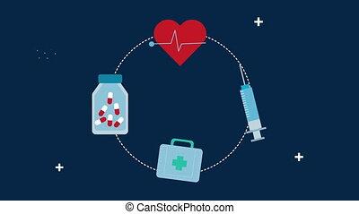 medical set icons around animation