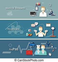 Medical set with research health ca