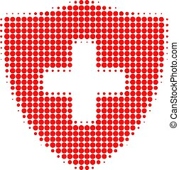 Medical Shield Halftone Dotted Icon