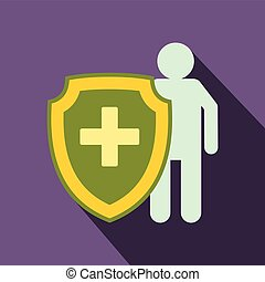 Medical shield icon, flat style