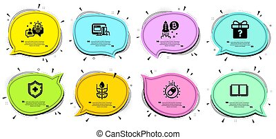 Medical shield, Idea and Online payment icons set. Secret gift, Bitcoin project and Capsule pill signs. Vector