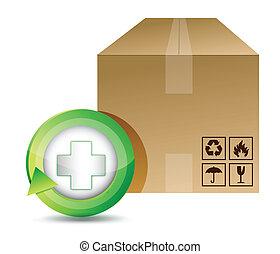 medical shipping box illustration design