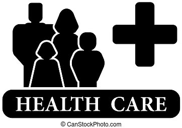 medical sign - family health care black icon