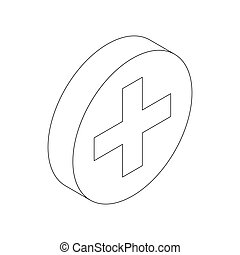 Medical sign icon, isometric 3d style