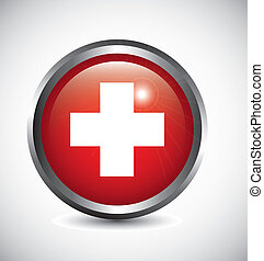 medical sign with cross over gray background. vector...