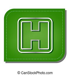 Medical sign. Silver gradient line icon with dark green shadow at ecological patched green leaf. Illustration.